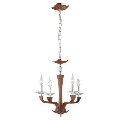 Pella Collection 4-Light Chrome and Brown Chandelier