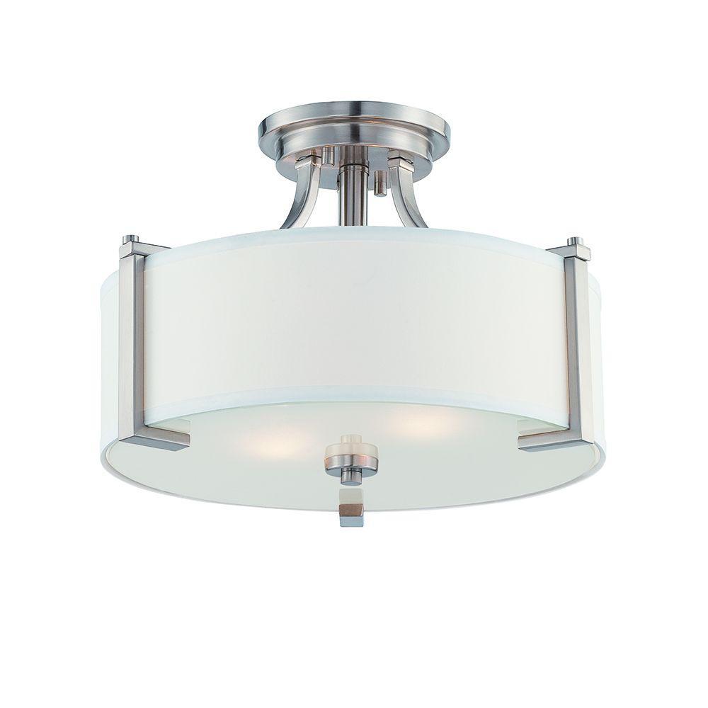 Axel 2-Light Satin Platinum Semi-Flush Mount