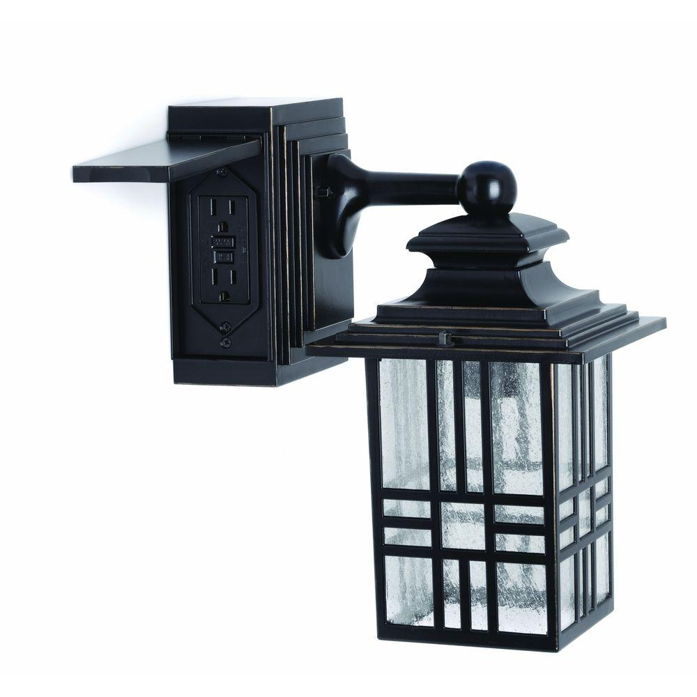 Hampton Bay Mission Style Black With Bronze Highlight Outdoor Wall Lantern Built In Electrical Outlet Gfci 30264 The Home Depot