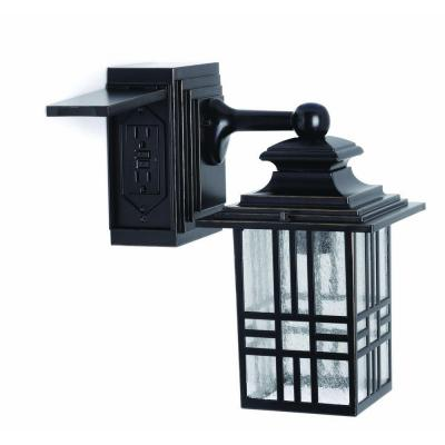 Mission Style Black with Bronze Highlight Outdoor Wall Lantern with Built-In Electrical Outlet (GFCI)
