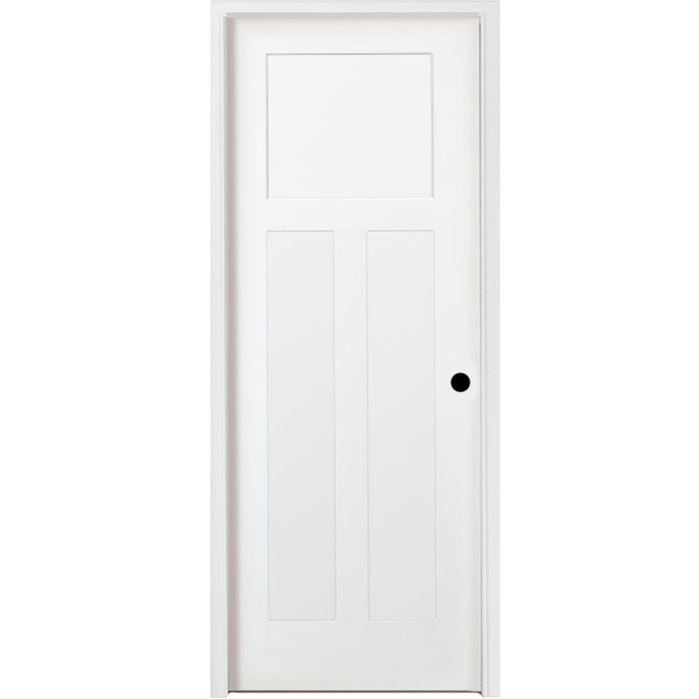 36 in. x 80 in. 3-Panel Mission Shaker White Primed LH