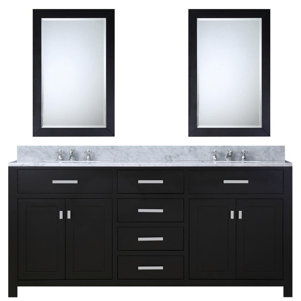 Water Creation 72 in. Vanity in Espresso with Marble Vanity Top in Carrara White and Mirrors