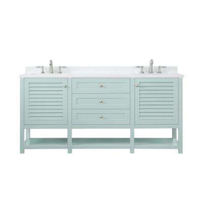Grace 72 in. W x 22 in. D Bath Vanity in Minty Latte with Cultured Stone Vanity Top in White with White Basin