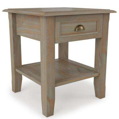 Berkshire Solid Wood 18 inch Wide Square Traditional End Table in Distressed Grey