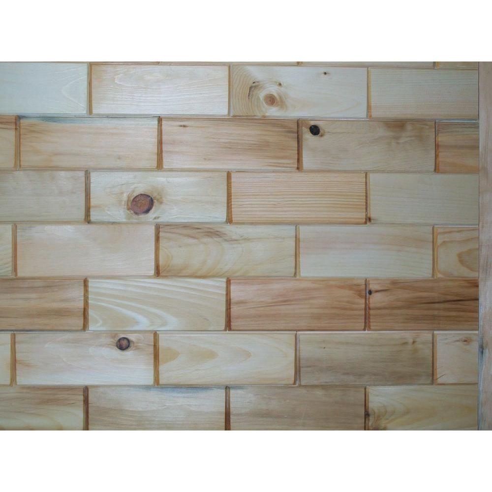 Rustix Woodbrix 3 in. x 8 in. Prefinished Northeastern White Pine Wooden Wall Tile
