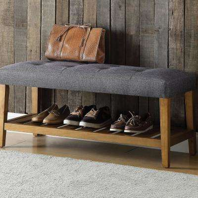 Charla Gray and Brown Oak Bench