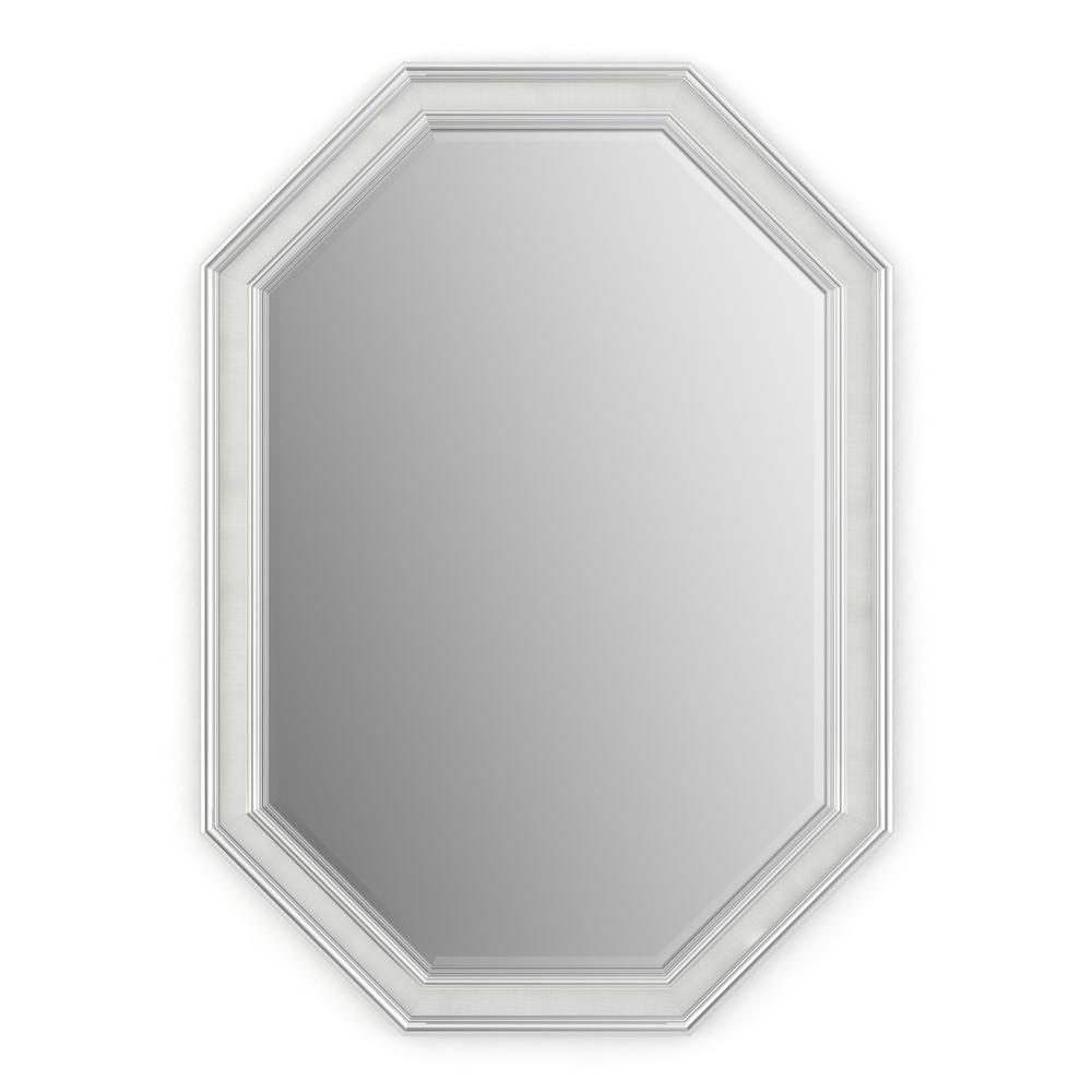 33 in. x 46 in. (L3) Octagonal Framed Mirror with Deluxe Glass and Float Mount Hardware in Chrome and Linen