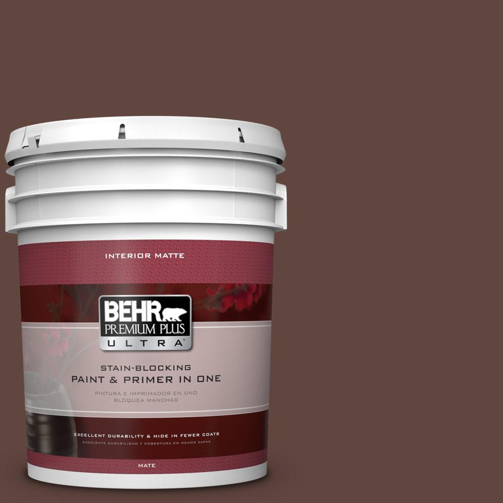 BEHR Premium Plus Ultra 5 gal. #180F-7 Warm Brownie Flat/Matte Interior Paint