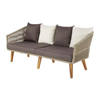 Litton Lane Multi-Colored Rope, Wood and Aluminum Outdoor Sofa with Cushions