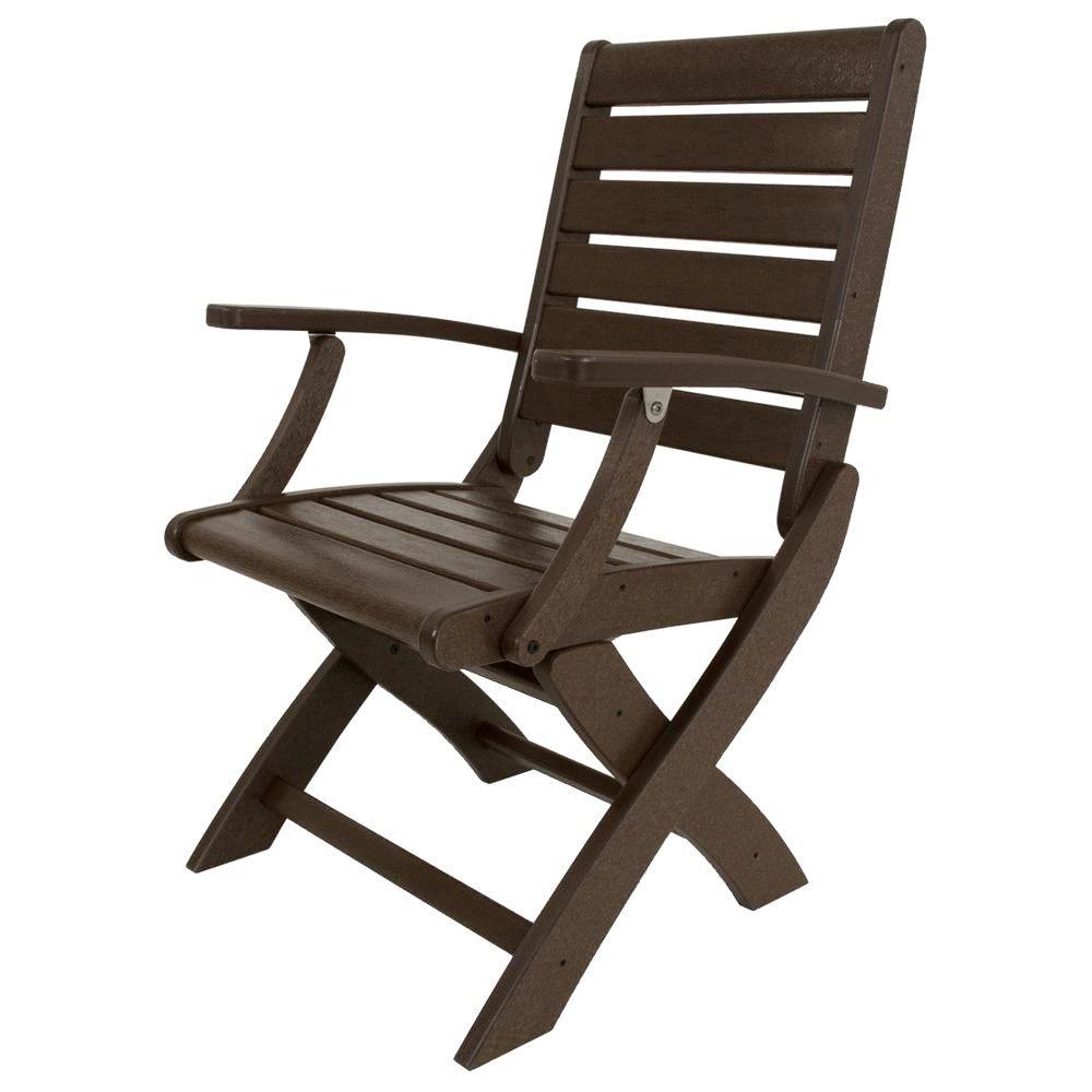 POLYWOOD Signature Mahogany Patio Folding Chair by POLYWOOD