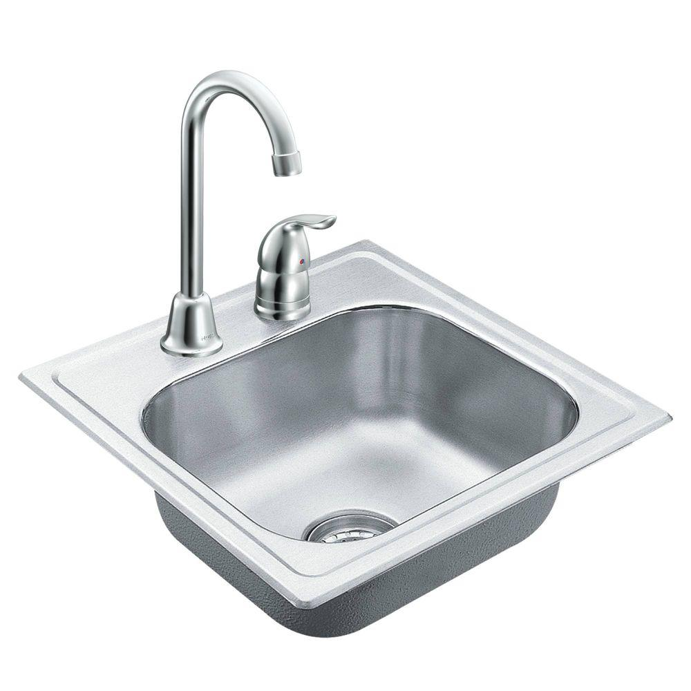 Beau MOEN 2000 Series Drop In Stainless Steel 15 In. 2 Hole Single Bowl