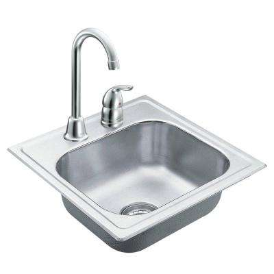2000 Series Drop-in Stainless Steel 15 in. 2-Hole Single Bowl Bar Sink with faucet