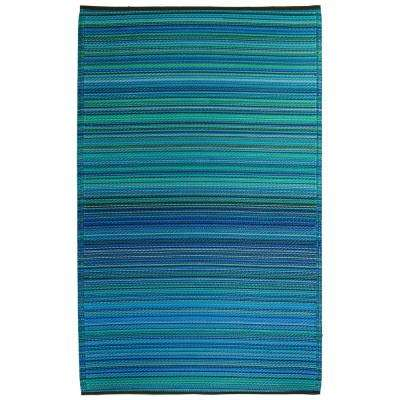 Cancun Indoor/Outdoor Turquoise and Moss Green 8 ft. x 10 ft. Area Rug