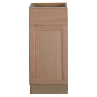 Easthaven Shaker Assembled 15x34.5x24 in. Frameless Base Cabinet with Drawer in Unfinished Beech