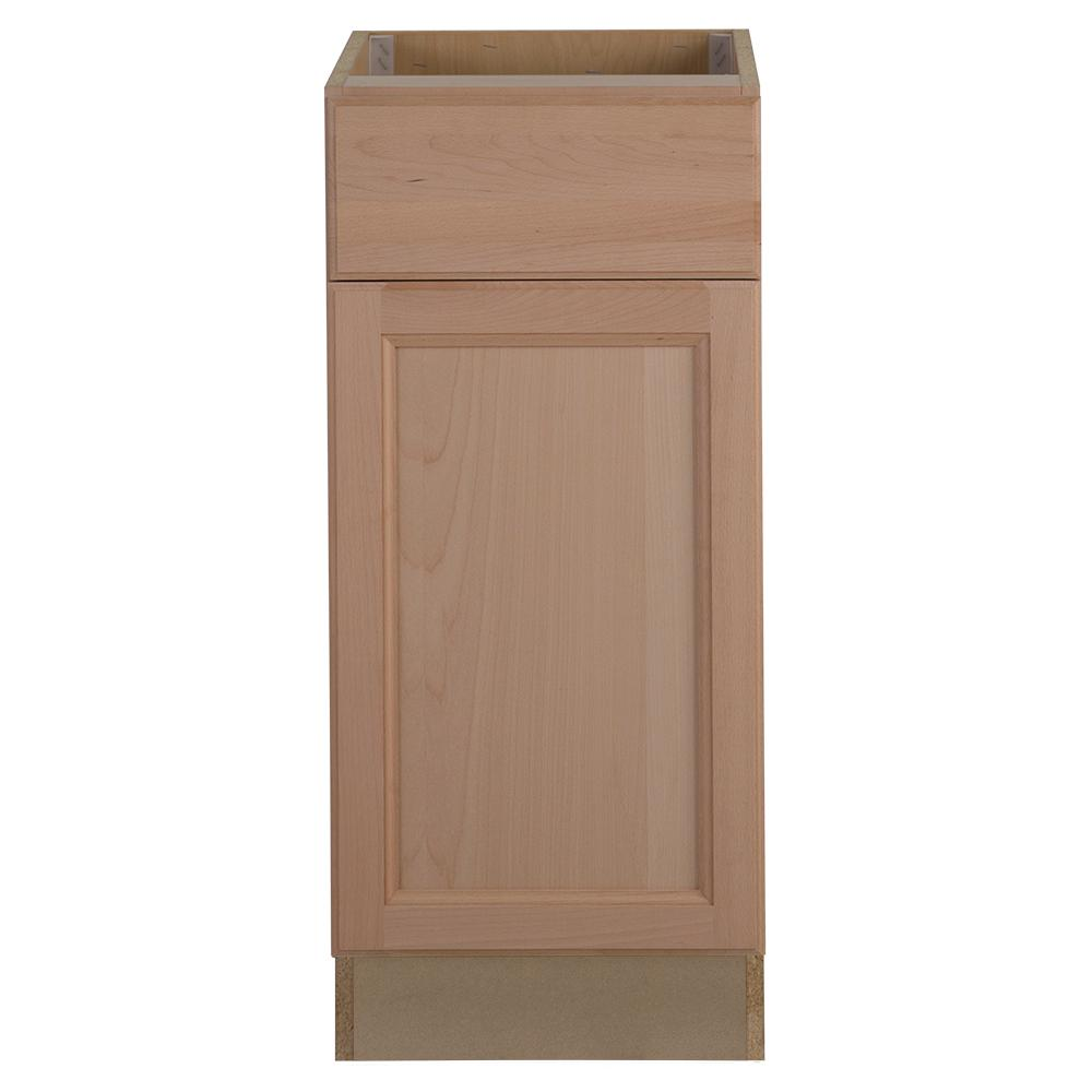 Easthaven Assembled 15x34.5x24 in. Frameless Base Cabinet with Drawer in Unfinished German Beech