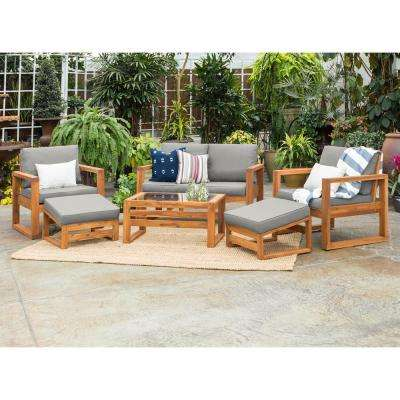 Brown 6-Piece, Wood Conversational Patio Set with Gray Cushions