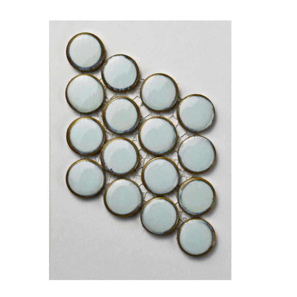 Hudson Penny Round Silk White Porcelain Mosaic Tile - 3 in. x 4 in. Tile Sample