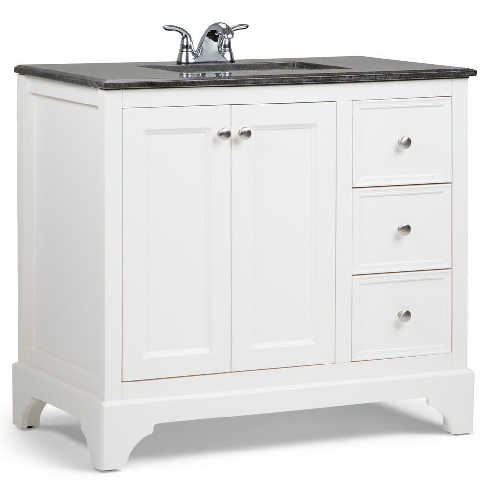Cambridge 36 in. Bath Vanity in Soft White with Granite Vanity Top in Black with White Basin