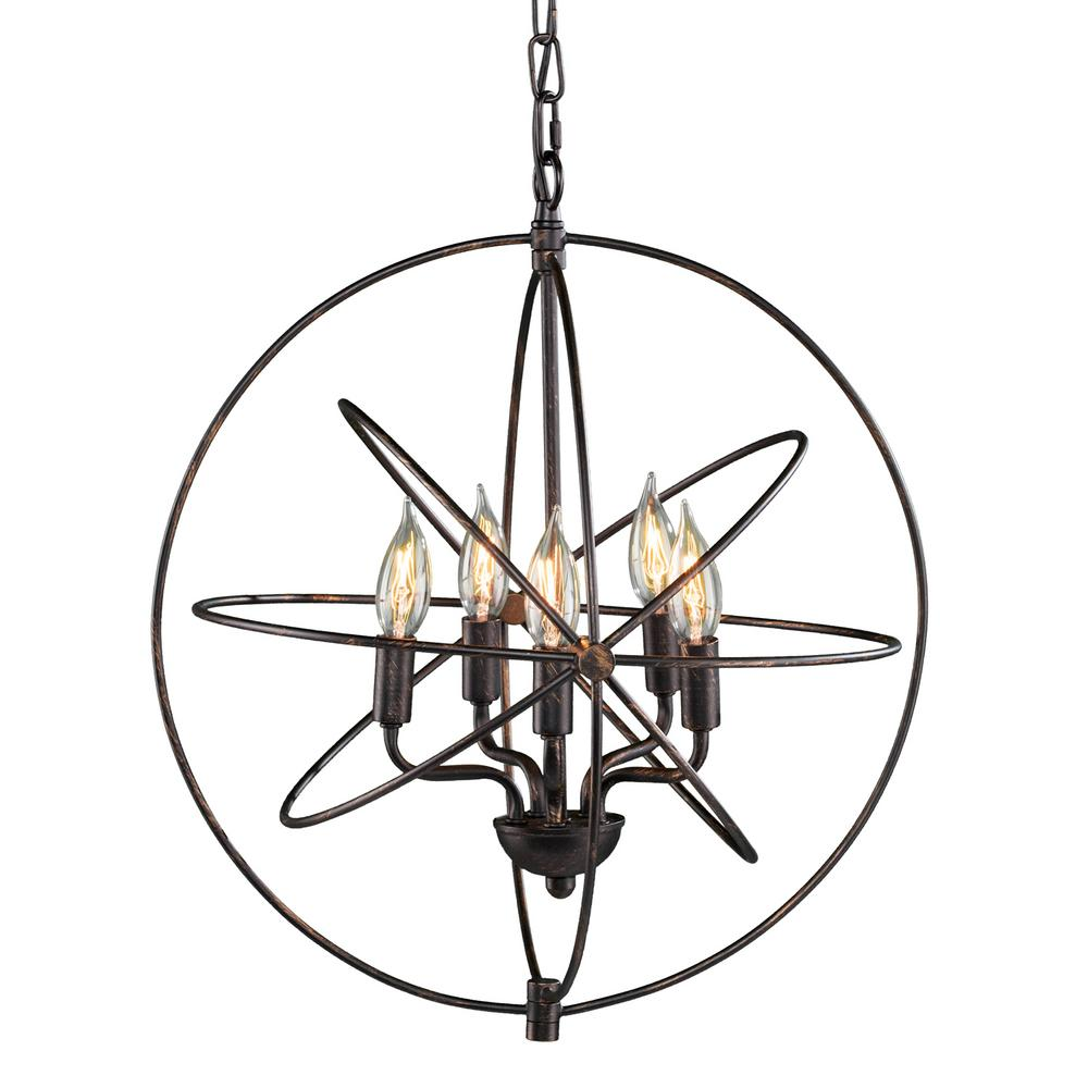 Aeneas 5-Light Dark Antique Bronze Orbital Globe Pendant Lamp