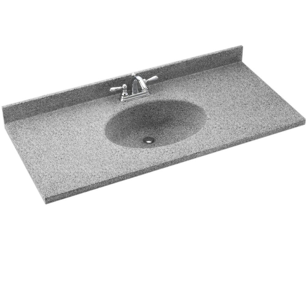 Swanstone Chesapeake 55 in. W Solid Surface Vanity Top in Gray Granite with Gray Granite Basin