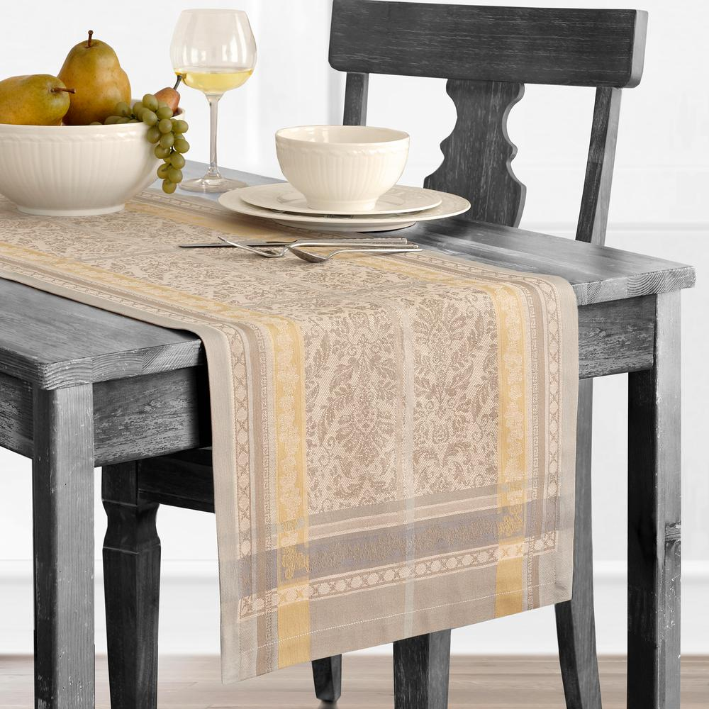 Promenade 16 in. W x 72 in. L Gray/Gold Cotton Table