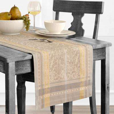 Promenade 16 in. W x 72 in. L Gray/Gold Cotton Table Runner