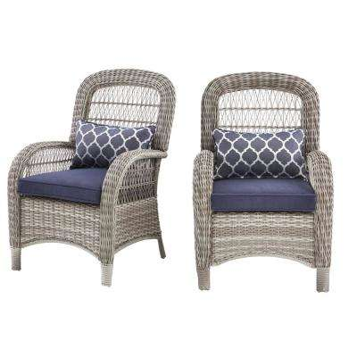 Beacon Park Gray Wicker Outdoor Captain Dining Chair with Midnight Cushions (2-Pack)