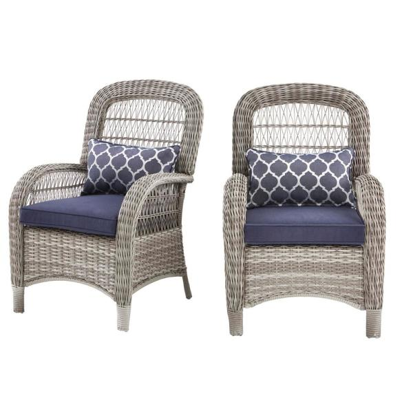 Beacon Park Gray Wicker Outdoor Patio Captain Dining Chair with Standard Midnight Trellis Navy Blue Cushions (2-Pack)