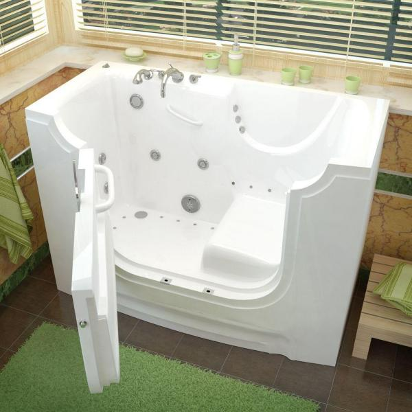 Universal Tubs Nova Wheelchair Access 5 Ft Walk In Whirlpool And Air Bathtub With 4 In Tile Easy Up Adhesive Wall Surround In White H3060wclwdce The Home Depot