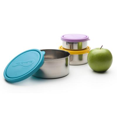 16 oz., 9 oz. and 5 oz. Round Nesting Trio Stainless Steel Food Storage Containers with Leak-Proof Lids (Set of 3)