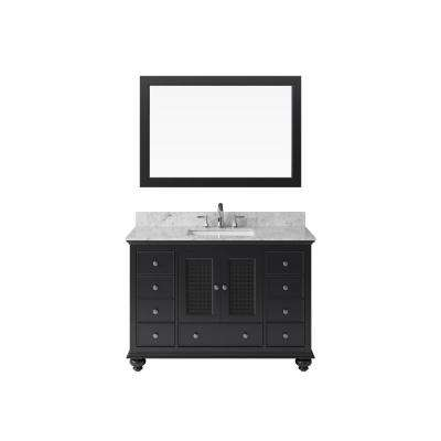 48 in. Vanity in Espresso with Marble Vanity Top in Carrara White with White Basin and Mirror