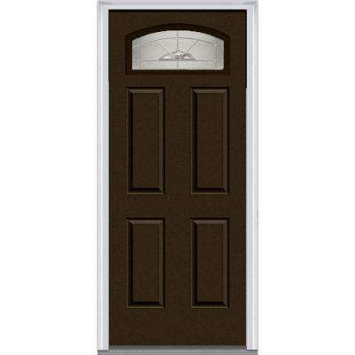 30 in. x 80 in. Master Nouveau Left-Hand 1/4-Lite Decorative 4-Panel Painted Fiberglass Smooth Prehung Front Door