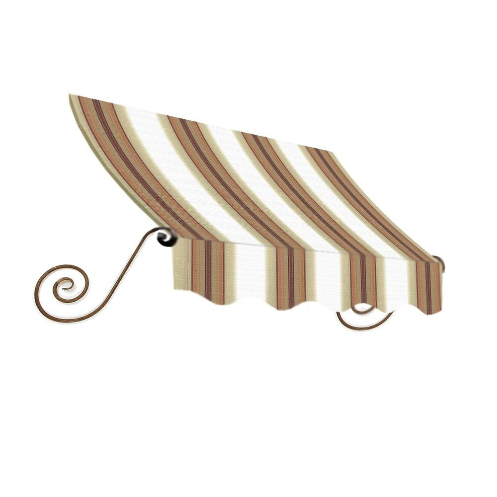 AWNTECH 14 ft. Charleston Window/Entry Awning (24 in. H x 36 in. D) in White/Linen/Terra cotta Stripe