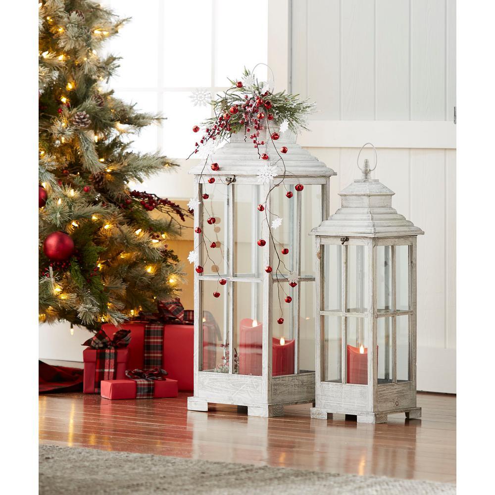 Christmas Lanterns.Antique White Lantern Set Of 2