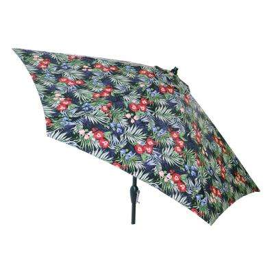 9 ft. Aluminum Market Tilt Patio Umbrella in Luella Tropical