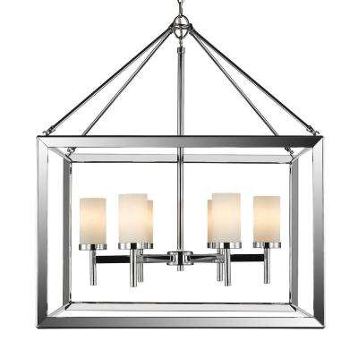 Smyth CH 6-Light Chrome Chandelier with Opal Glass Shade
