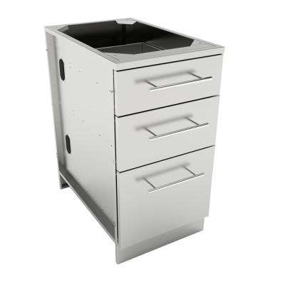 Designer Series 304 Stainless Steel 18 in. x 34.5 in. x 28.25 in. 3-Drawer Base Cabinet