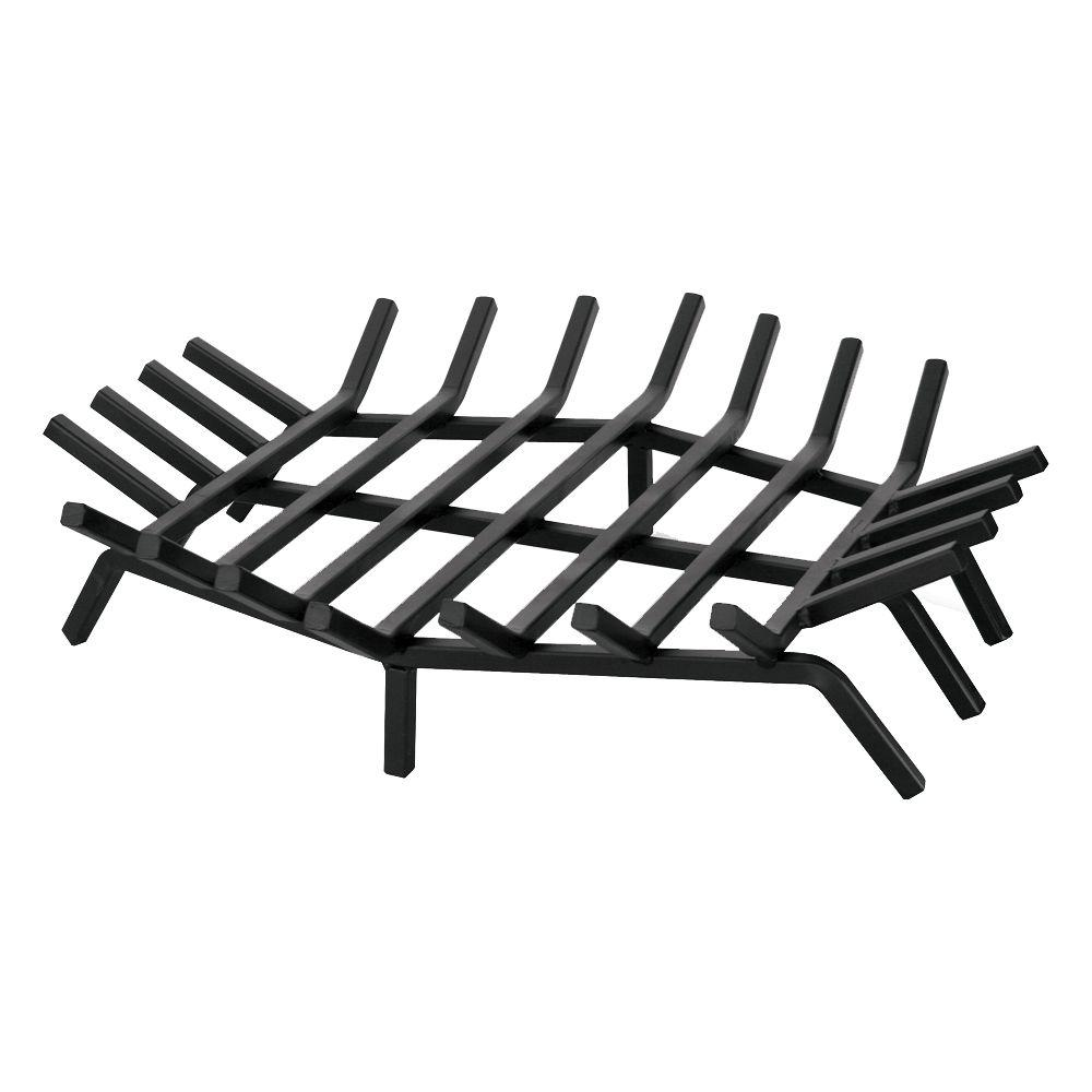 The Blue Rhino 24 in. x 24 in. Black Hexagon Shape Bar Grate is constructed of cast iron for long lasting durability. This keeps logs in place and allows for increased airflow. It is perfect for indoor usage.
