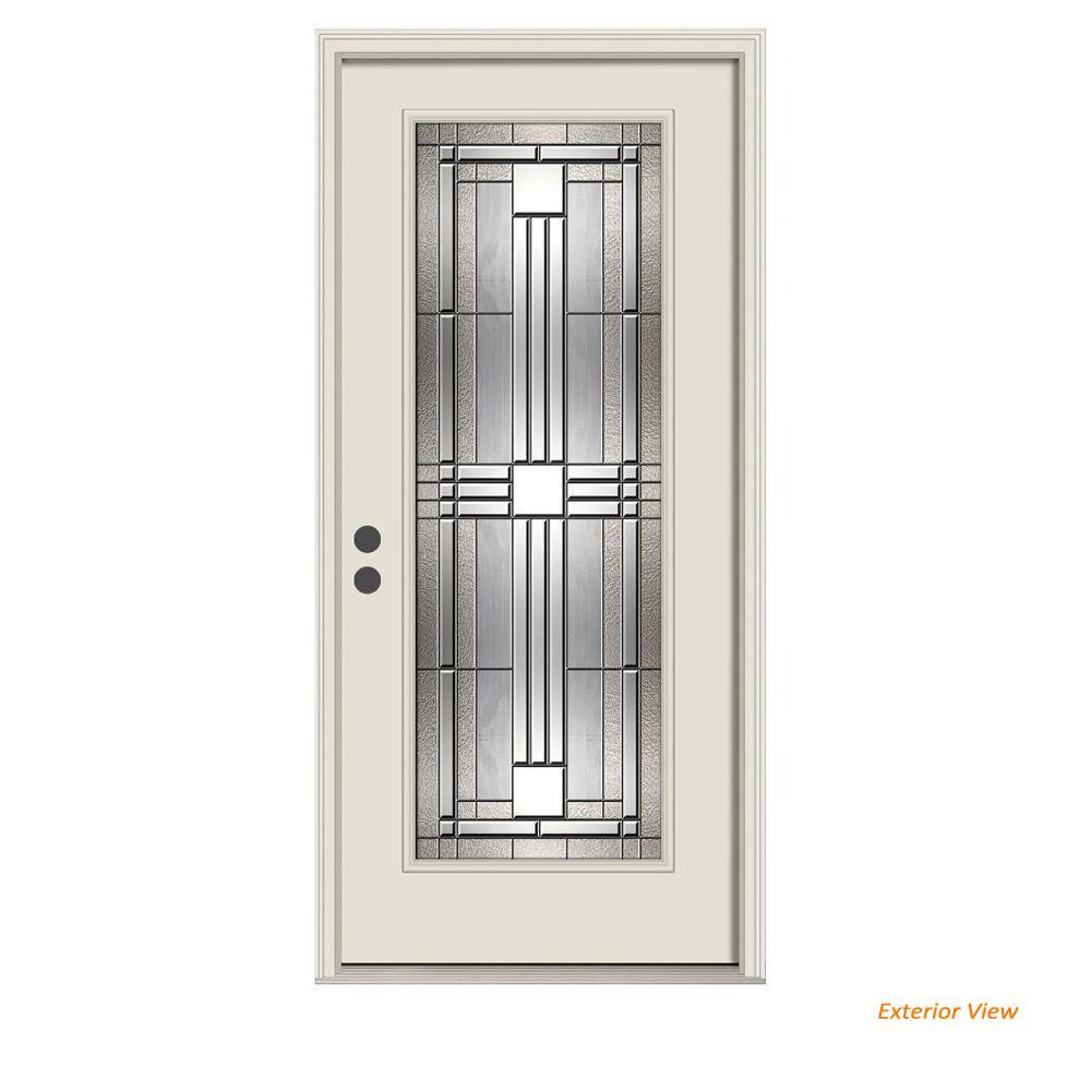 36 in. x 80 in. Full Lite Cordova Primed Steel Prehung Right-Hand Inswing Front Door w/Brickmould