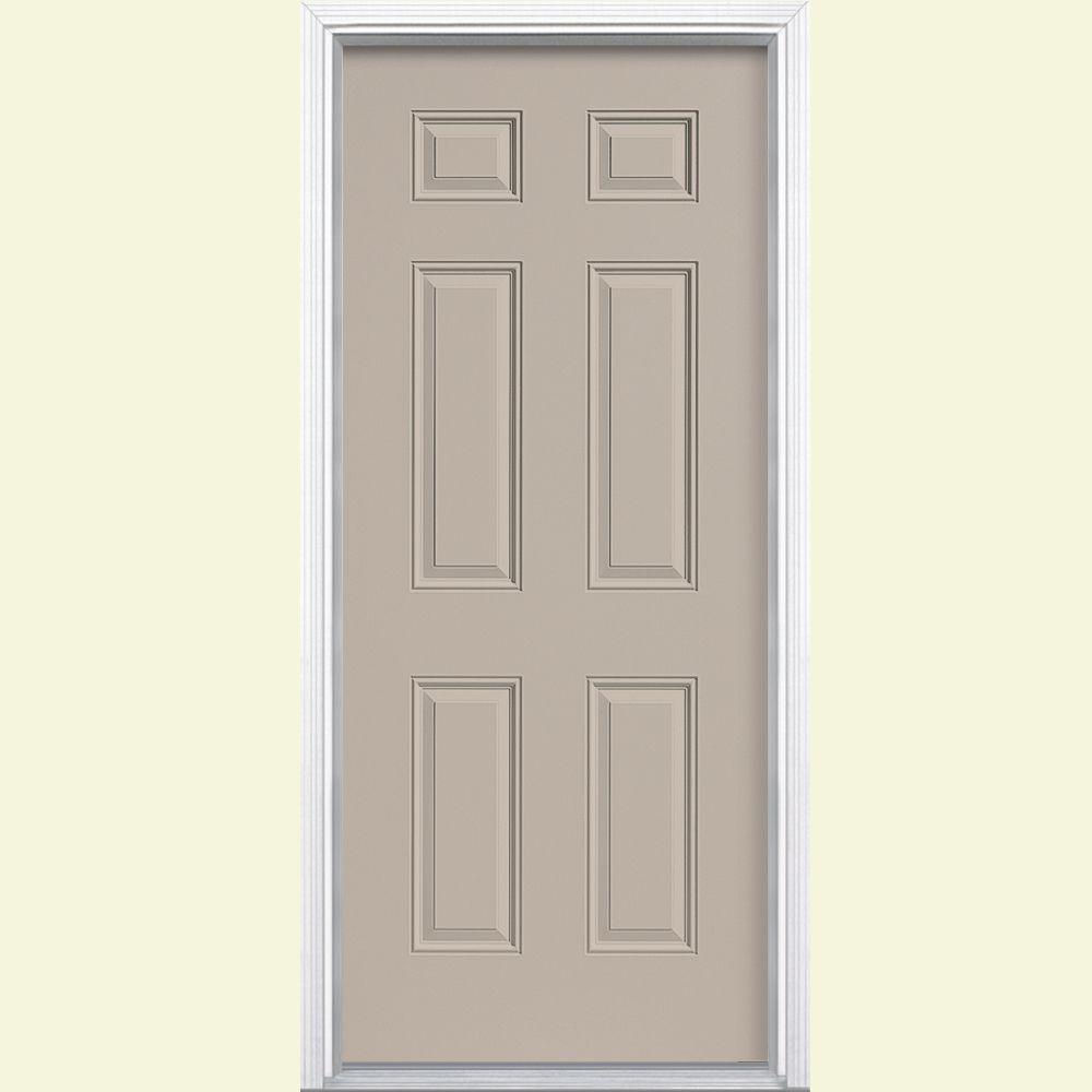 Masonite 36 in. x 80 in. 6-Panel Painted Steel Prehung Front Door with Brickmold