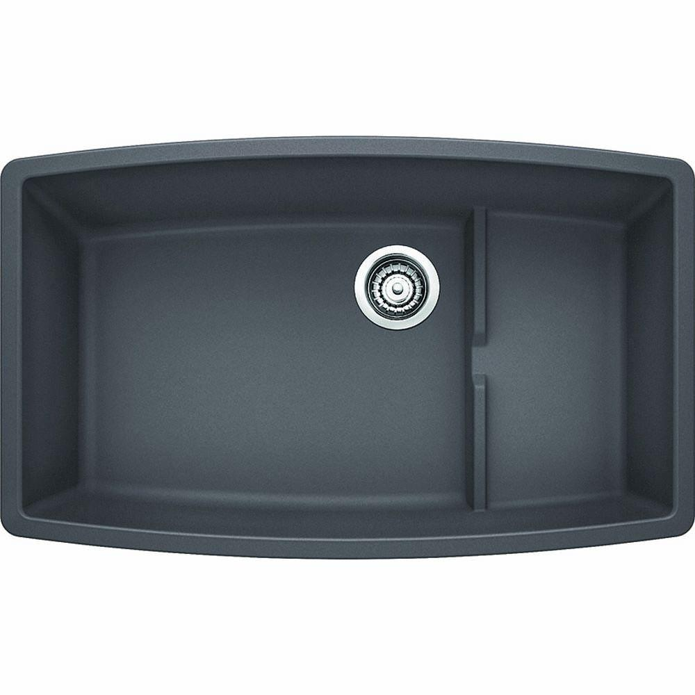 Blanco Performa Cascade Undermount Granite Composite 32 In. Super Single  Bowl Kitchen Sink In Cinder