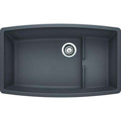 Performa Cascade Undermount Granite Composite 32 in. Super Single Bowl Kitchen Sink in Cinder
