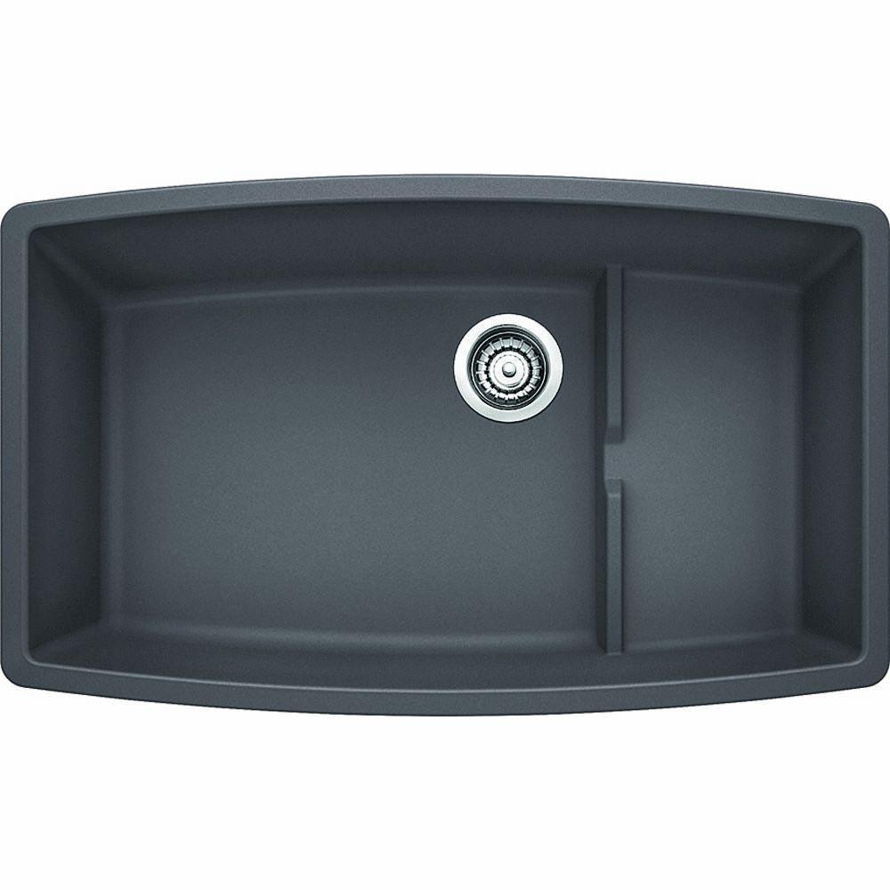Performa Cascade Undermount Granite Composite 32 in. Super Single Bowl Kitchen Sink in Cinder