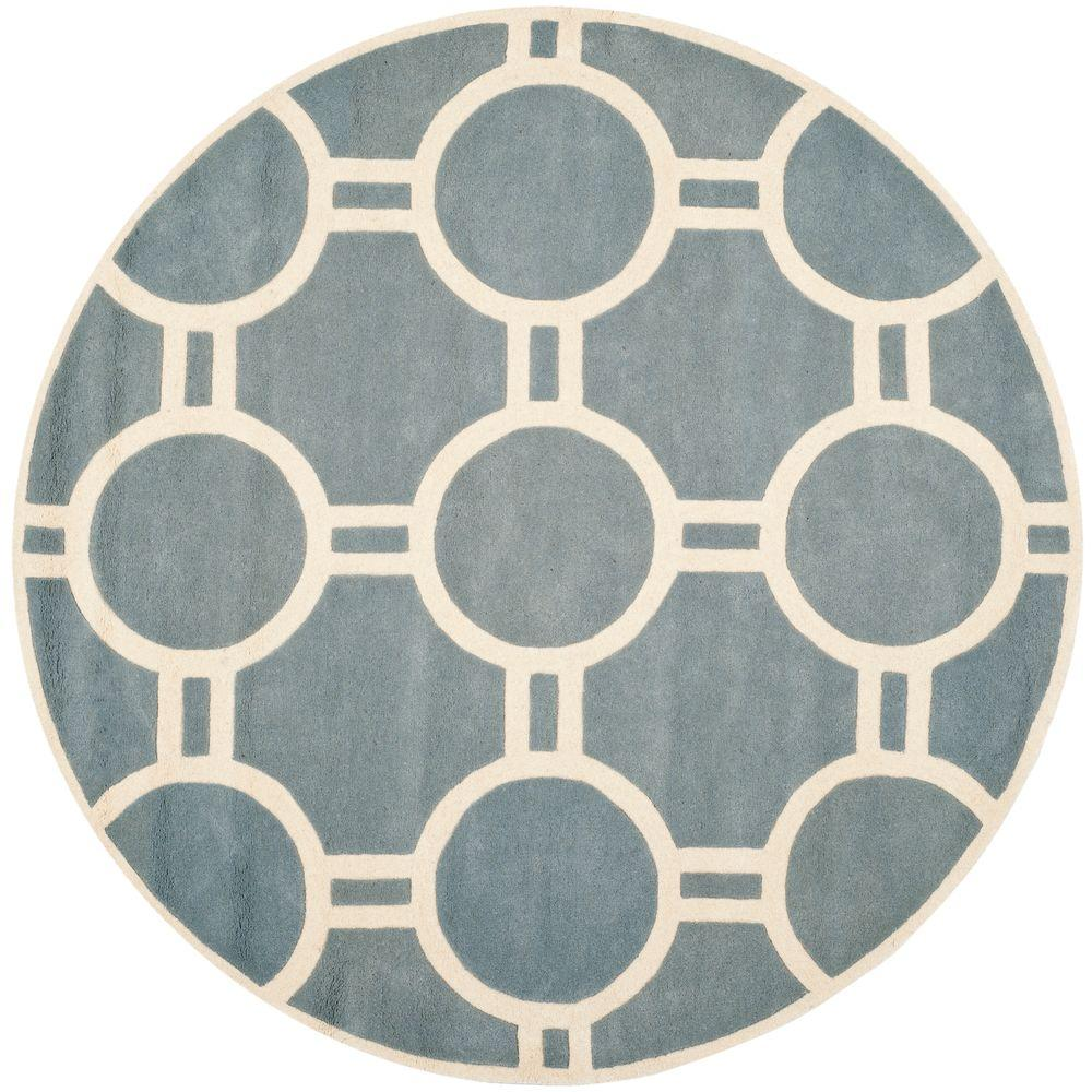 Safavieh Chatham Blue Ivory 7 Ft X 7 Ft Round Area Rug