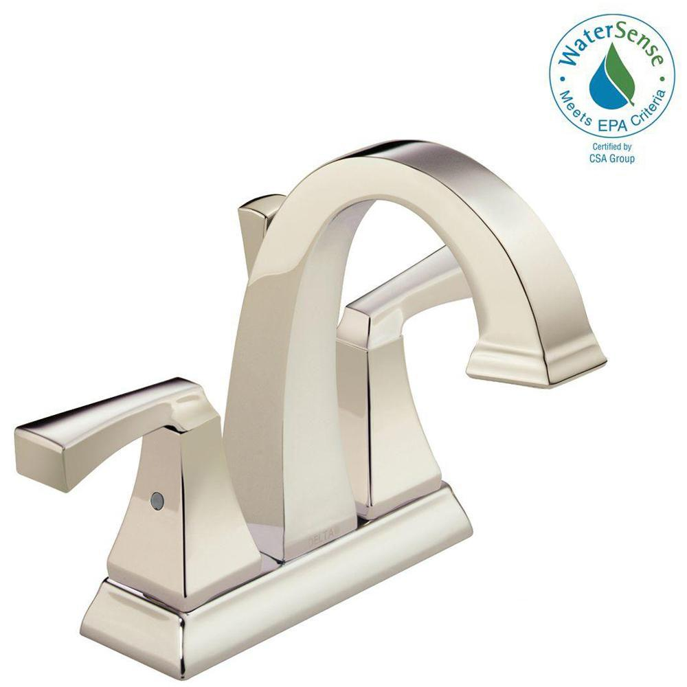 Dryden 4 in. Centerset 2-Handle Bathroom Faucet with Metal Drain Assembly