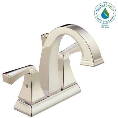 Dryden 4 in. Centerset 2-Handle Bathroom Faucet with Metal Drain Assembly in Polished Nickel