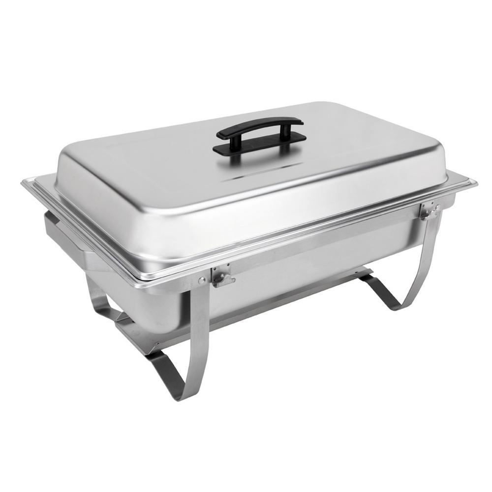 Sterno Foldable Frame Buffet Chafer Set (8-Pack) The Sterno Products Foldable Frame Buffet Chafer Set is the perfect choice for catering and food service. This set comes with (1) foldable frame, (1) lid, (1) Fuel Holder Tray, (2) Fuel Holders, (1) - 4 in. Deep Water Pan and (2)-2 in. Deep Food Pans. The foldable frame makes this chafer easy to transport and store. With a high-quality stainless steel construction, this set is designed to last. All you need is this set and cans of Sterno fuel to provide warm food for any occasion. This set was designed to handle the needs of professional caterers, while being easy to use for the home cook as well. Sterno Products delivers the most comprehensive line of portable warming, emergency illumination, butane appliances and catering products to the retail market. We share our customers' commitment to the environment and continually strive to improve our manufacturing and marketing practices to reduce our impact on the earth. Our iron-clad commitment to excellence ensures perfect performance every time.