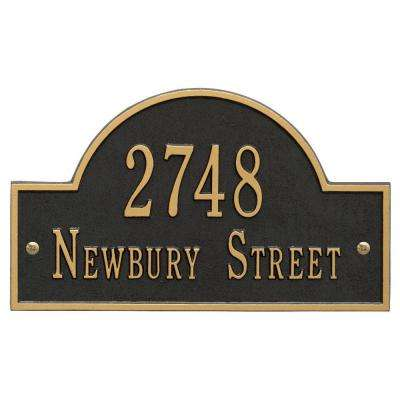 Arch Marker Standard Black/Gold Wall 2-Line Address Plaque