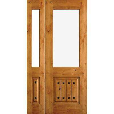 46 in. x 96 in. Mediterranean Knotty Alder Half Lt Unfinished Right-Hand Inswing Prehung Front Door with Left Sidelite