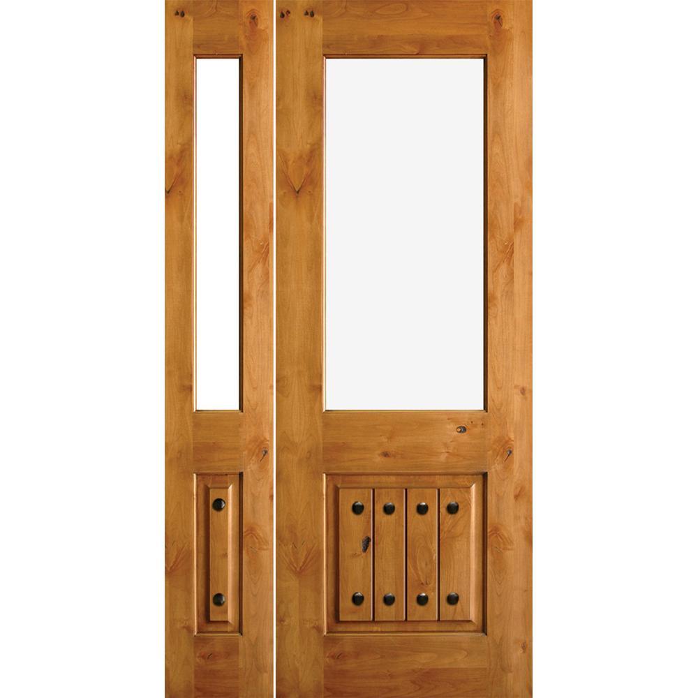 Krosswood Doors 50 In X 80 Rustic Mediterranean Style Low E Ig V Grooved Left Hand Inswing Prehung Front Door With Sidelite